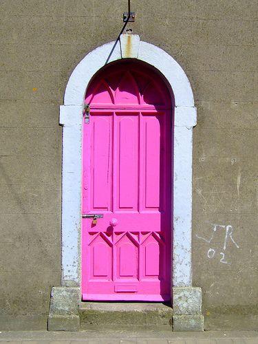 neon pink door.