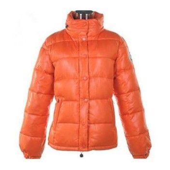 France Moncler Badia Shiny Orange Jacket Women Online