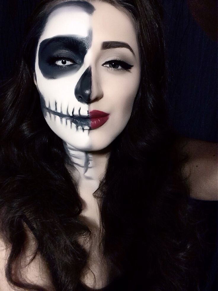 Half Skeleton Halloween Makeup | COOL EYES U2665 LIPS U2665 MAKE UP AND STUFFu2665 | Pinterest
