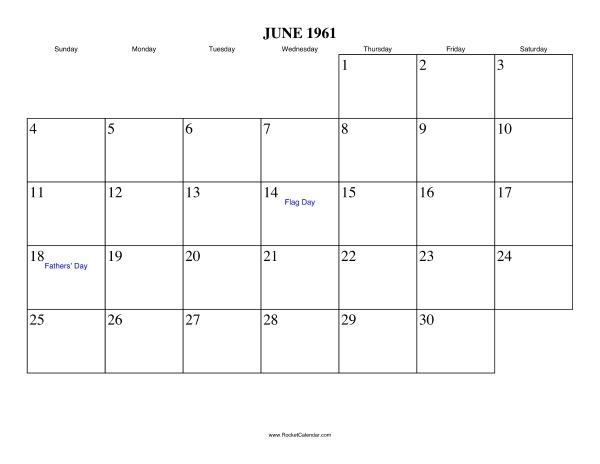Free printable calendar for June 1961. View online or print in PDF ...