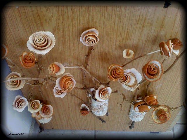Las rosas anaranjadas de la cáscara   Manos Hábiles
