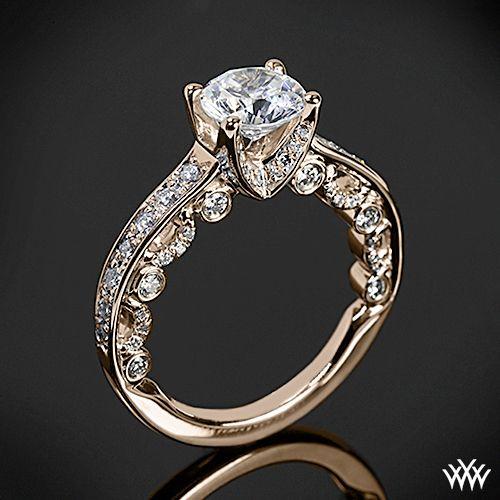 20k Rose Gold Verragio 4 Prong Channel Bead Set Diamond Engagement Ri…
