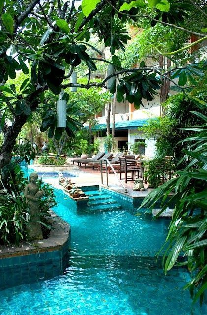 Lazy river in the backyard amazing pools pinterest for Back garden swimming pool
