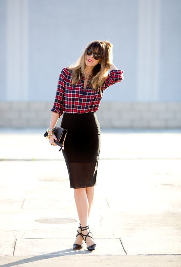 high heel shoes with skirt and shirt