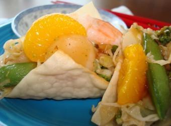 Spicy Asian orange ginger shrimp tacos (made with wonton skins!).