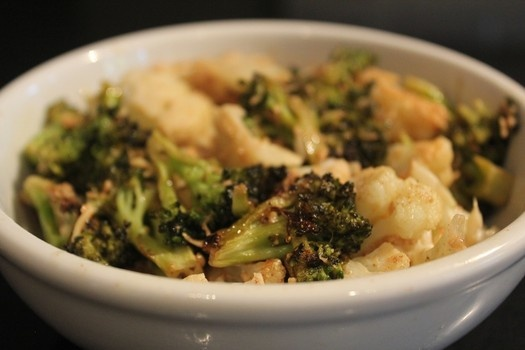 ... decadent recipe for roasted broccoli and cauliflower with brown but