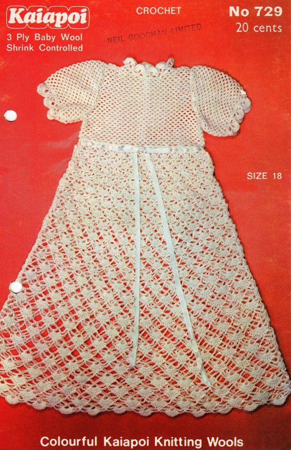 Crochet Baby Robe Pattern : Vintage Baby Crochet Pattern Dress or Christening Robe PDF ...