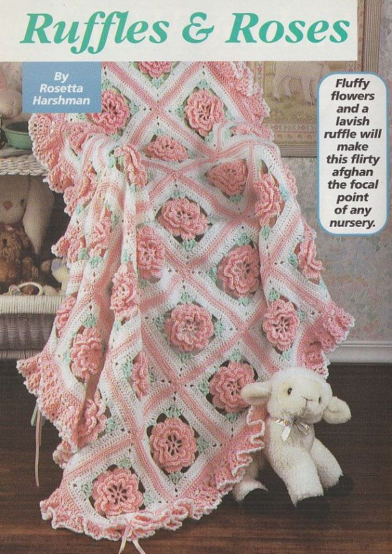 Ruffles & Roses Baby Afghan Crochet Pattern - Pretty Floral