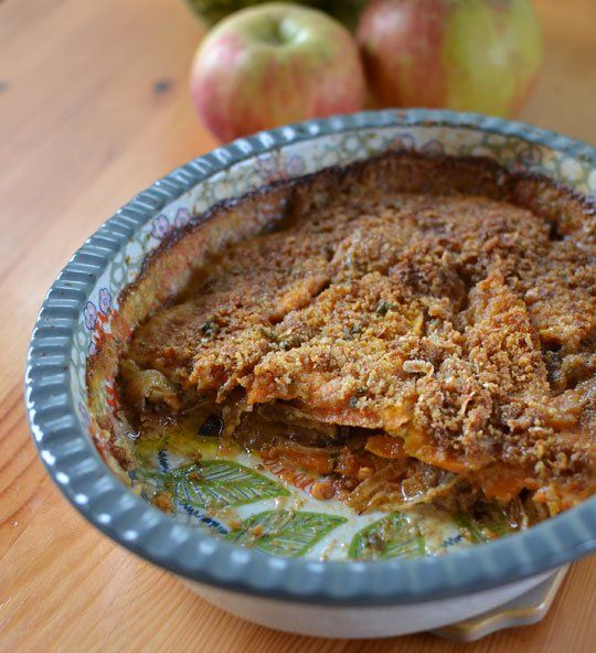 Sweet Potato Gratin with Caramelized Onions I would make this with ...
