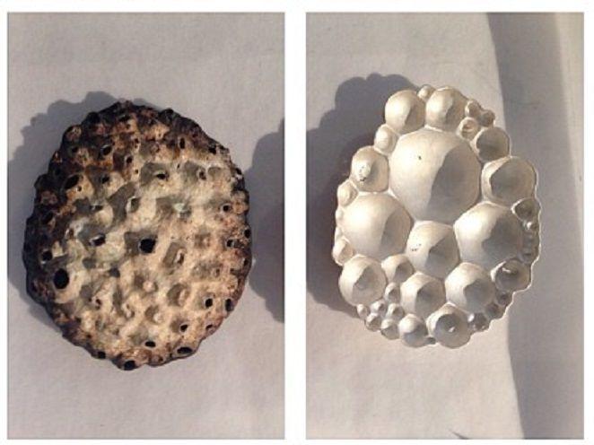 broches en metal oxidado de Maria Ignacia Walker para Alchimia (Firenze)