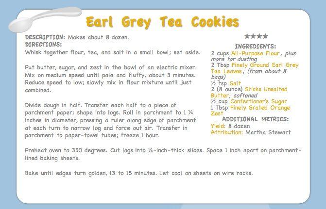 Earl Grey Tea Cookies Recipe — Dishmaps