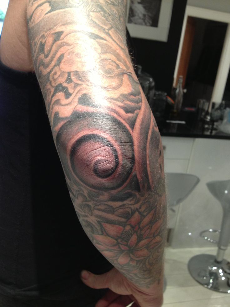 my hubby 39 s new elbow swirl tattoo ouch tattoo ideas pinterest. Black Bedroom Furniture Sets. Home Design Ideas