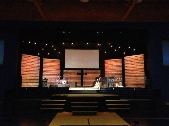 Church stage design wood slat walls for Wood slat wall design