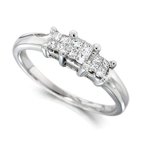 18ct White Gold Ladies 0.25ct Princess Cut Diamond Engagement Ring ...