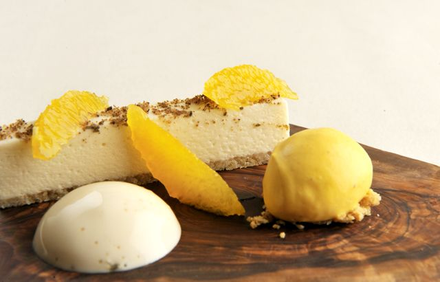 ... chocolate mousse with cardamom espuma and clementine sorbet | R