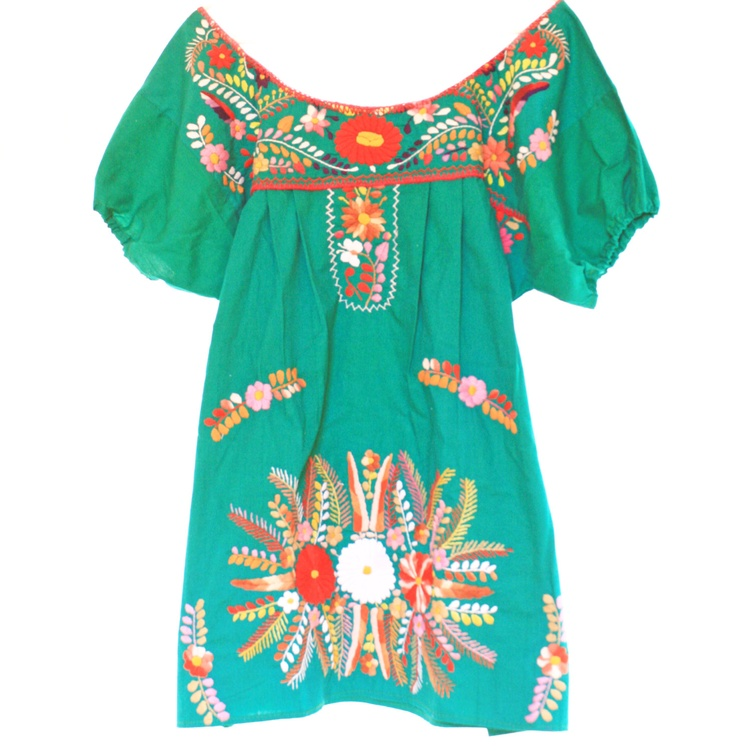 Jade mexican embroidered dress crochet mini tunic