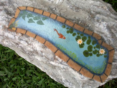 Hand painted rock small koi pond rock art the like for Koi fish pond rocks