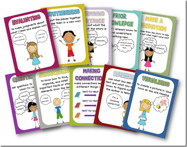 Reading posters {Free} that explain synthesizing, connections, inferring...