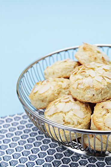 Almond scones - served with crème fraîche and homemade strawberry ...