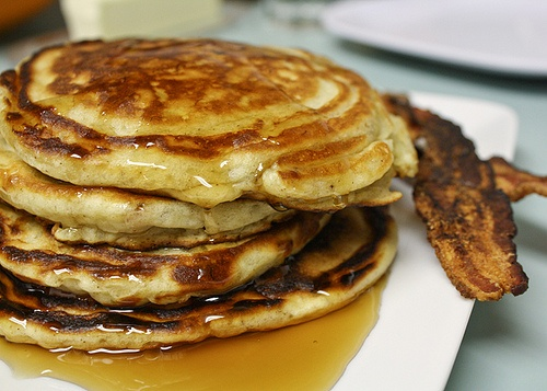 Bacon Banana Buttermilk Pancakes by pete bakes. I would substitute ...