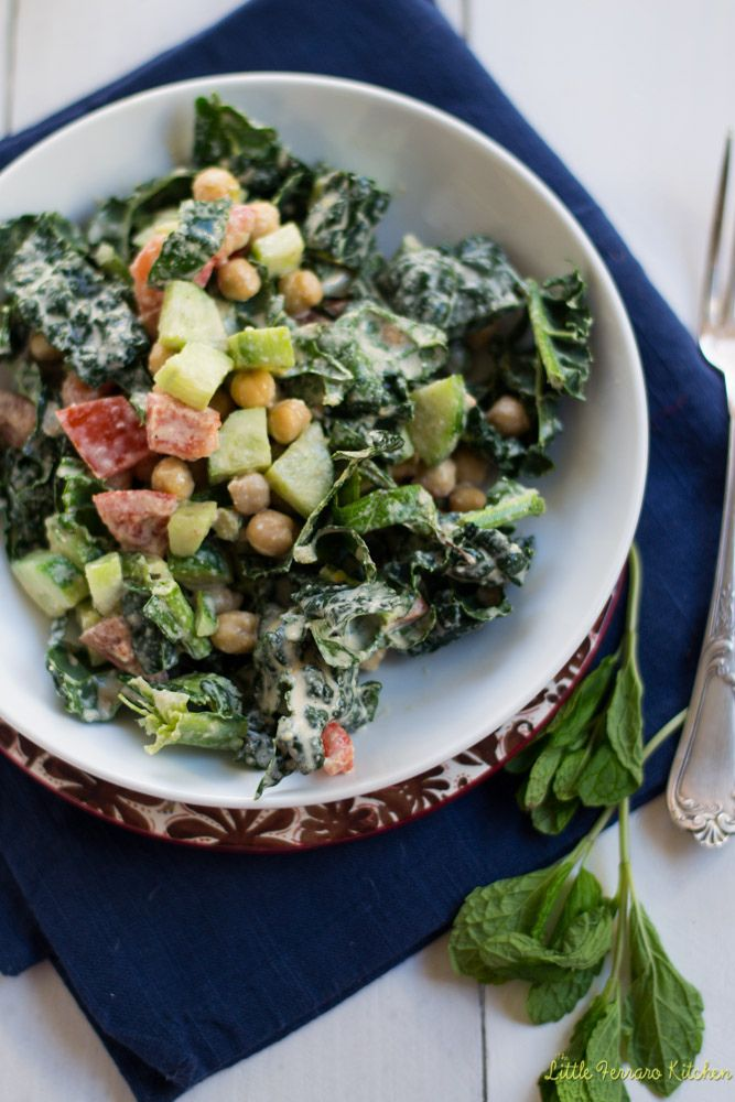 Chopped Kale and Chickpea Salad with Creamy Tahini Dressing | Recipe