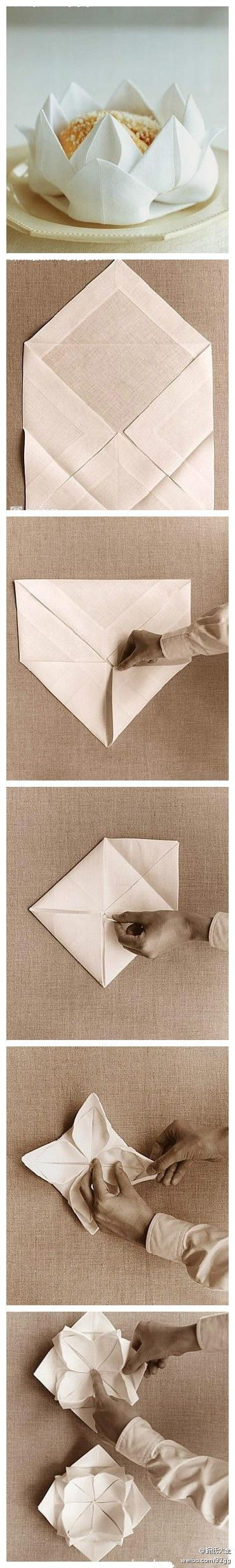 Lotus Serviette Folding : How pretty!  Origami  Pinterest