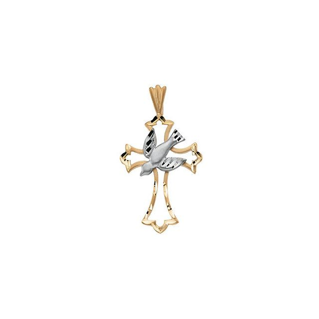 14k Yellow and White Gold Dove & Cross Religious Pendant