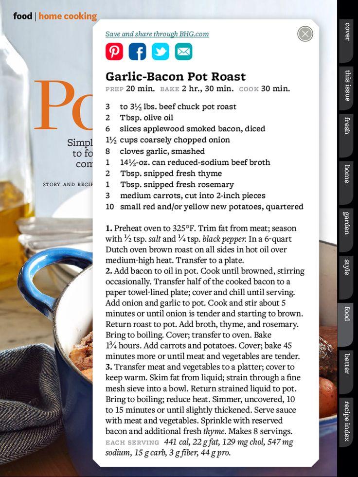 Garlic bacon pot roast | Foody Stuffy | Pinterest