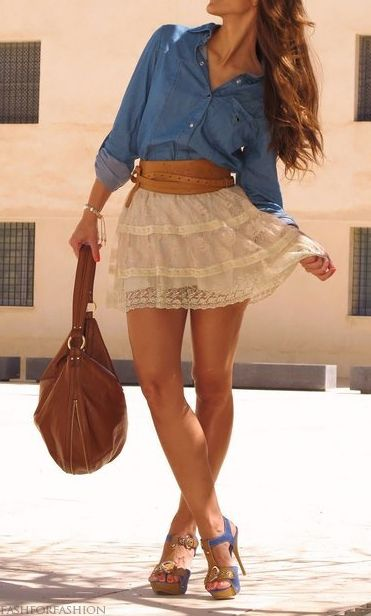 Chambray shirt and lace skirt