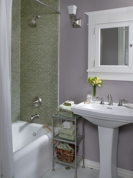 Pin by april parks on for the home pinterest for Gray and purple bathroom ideas