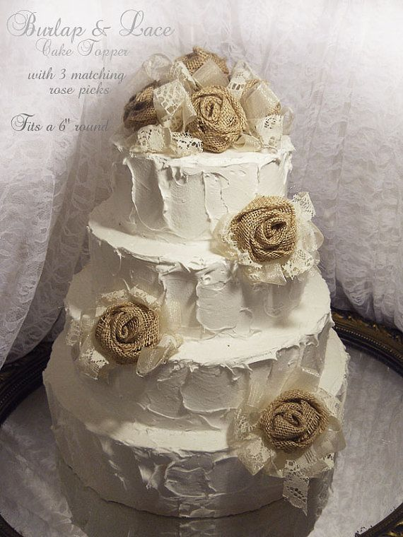 Burlap Rose Cake Topper with 3 matching roses, done in ivory tones of sheer, organza, lace and brown burlap. Made to Order.