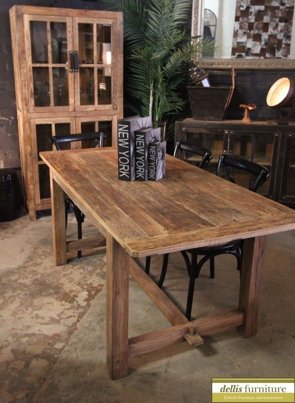 Rustic Recycled Elm Timber Farmhouse Dining Table