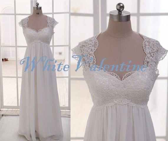 Long ivory lace wedding dress lace reception by for Long dress for wedding reception