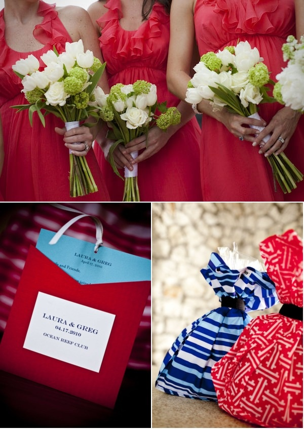 coral bridesmaids with white flowers