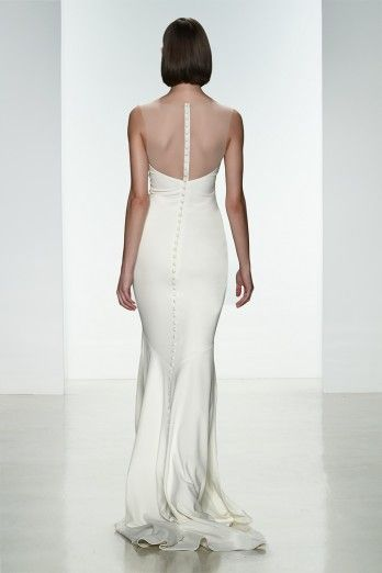 """Amsale Spring 2015 """"May"""" gown back. Heavy crepe slim fit to flare gown with #illusion neckline and covered buttons to waist. #lowback"""