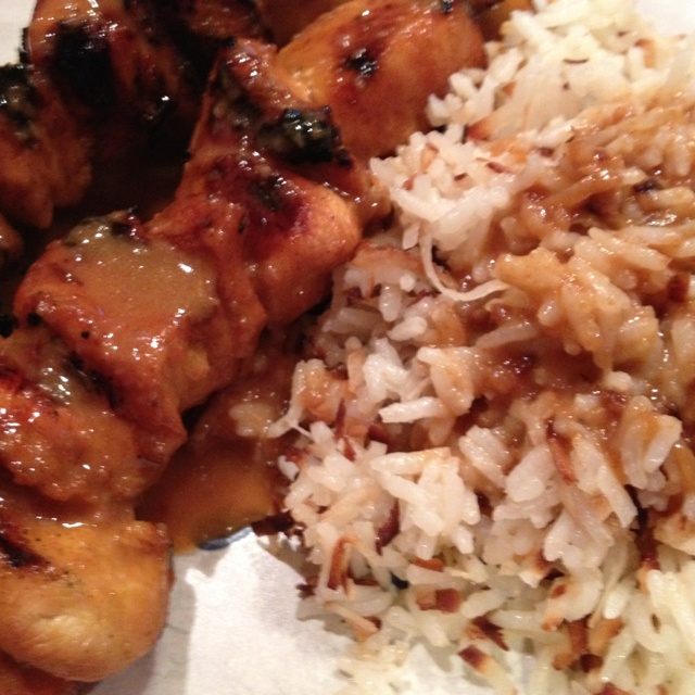 Grilled Chicken Skewers and Coconut Rice with Peanut Coconut Sauce ...