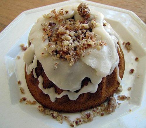 Pumpkin Honey Pound Cake with Maple Glaze and Praline Crumble