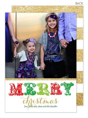 Merry In Gold Holiday Photo Cards