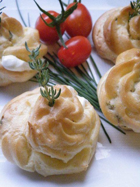 Goat Cheese, Parmesean, and Thyme Gougeres