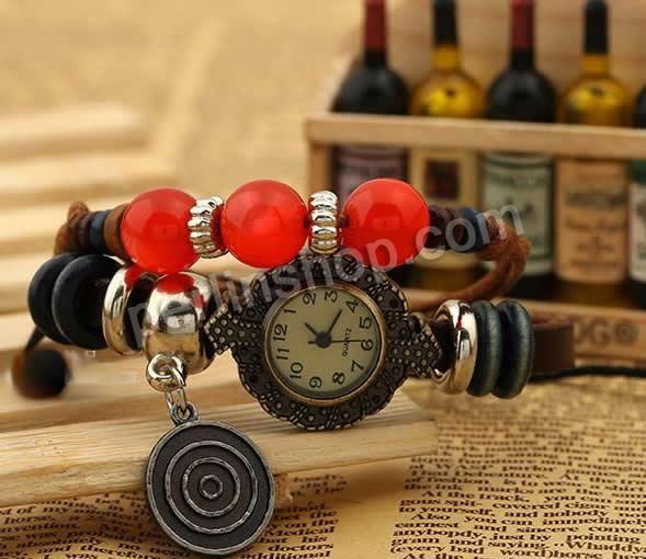 Armbanduhr Zifferblatt Holz ~ Mode Armbanduhr, Kuhhaut, mit Zinklegierung Zifferblatt & Wachsschnur