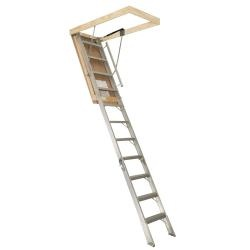 @Overstock - The Industry First Gas Strut Attic Stair has a 350 pound load rating. The Smooth Operator only requires half your pull strength to open without any loud creaking sounds.  http://www.overstock.com/Home-Garden/Century-Aluminum-Gas-Strut-10-foot-4-inch-Attic-Stair/6813630/product.html?CID=214117 $209.99