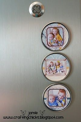 photo magnets using concentrate juice lids.