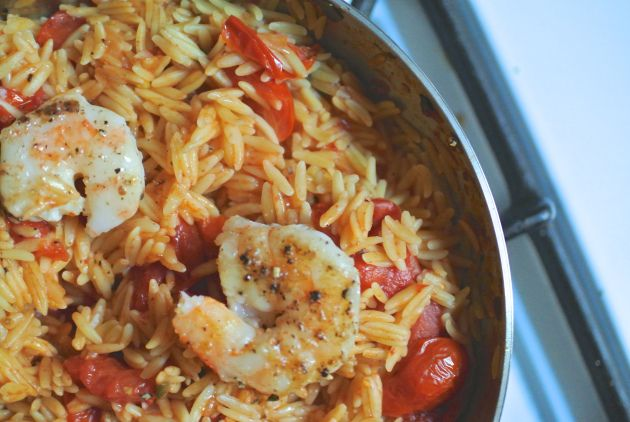skillet shrimp and orzo | Food & Drink | Pinterest