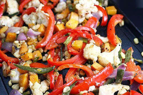 Roasted Vegetable Stacked Enchiladas Recipe — Dishmaps