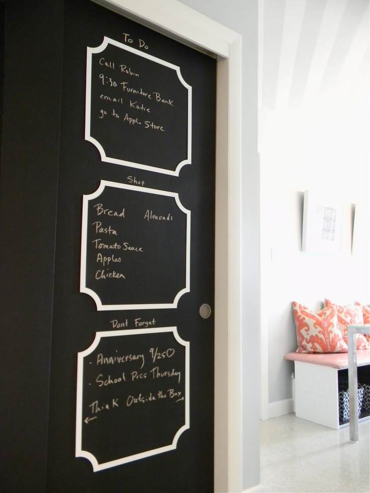 Chalk board sliding door.
