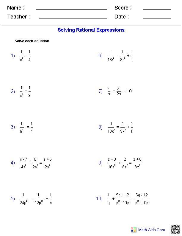 solving rational equations worksheets tutoring pinterest. Black Bedroom Furniture Sets. Home Design Ideas