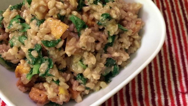 Delicious Fall Farro Risotto with Roasted Sweet Potatoes and Turnip ...