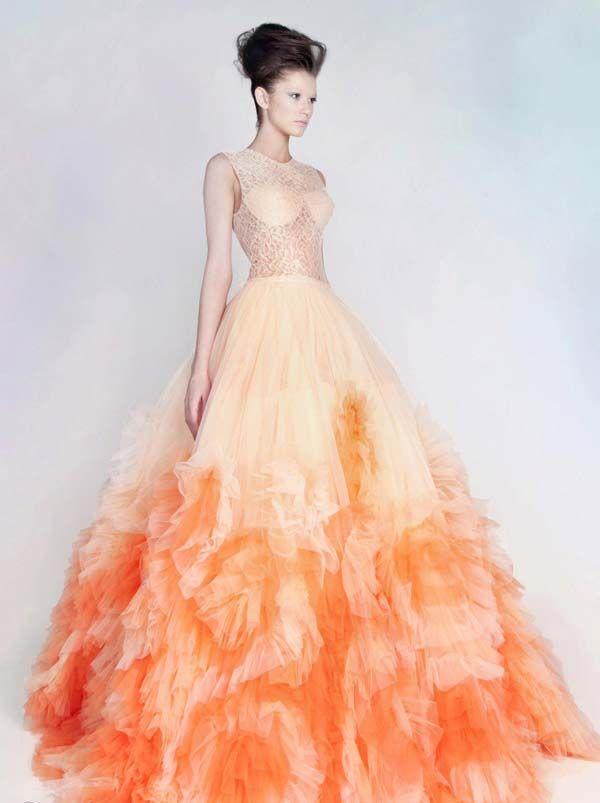 Ombre Orange Wedding Dress