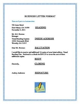 business letter format example with attention line