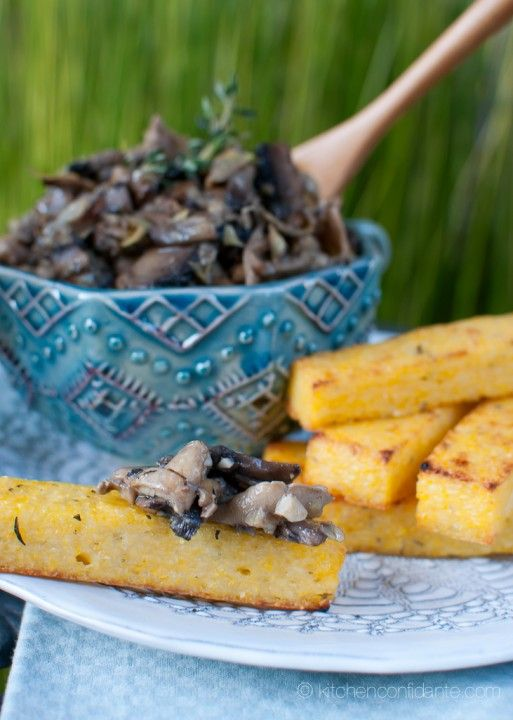 Herbed Polenta Fries with Mushroom & Artichoke Fricassee from @Liren ...